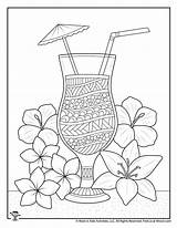 Coloring Adult Tropical Drink Summer Woojr Only Activities Woo Jr sketch template