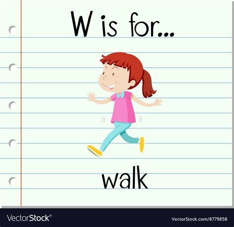 letter w is for walk stock vector image 71024801 flashcard letter w is for walk royalty free vector image