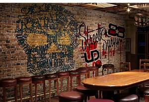 Retro nostalgia 3 d personality graffiti brick wall bar