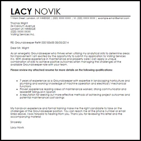 groundskeeper cover letter sample cover letter templates examples