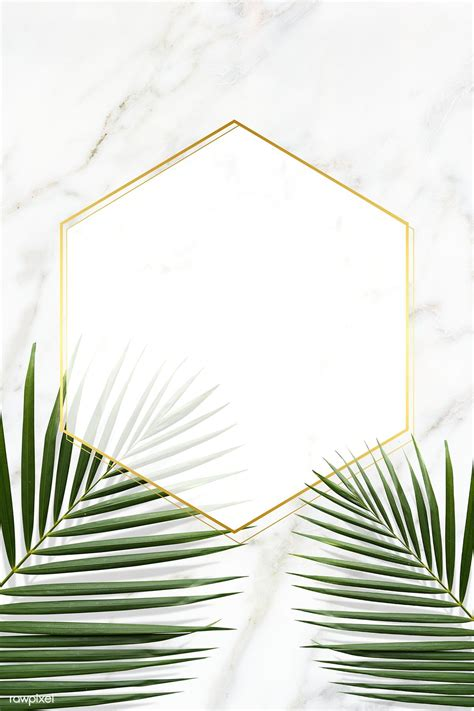 Download premium psd of Hexagon golden frame on a marble ...