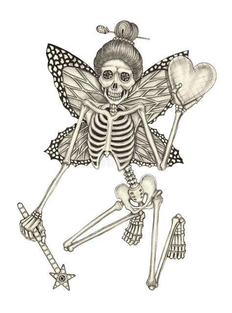 Art Skull Fairy Angel Tattoo Stock Illustration