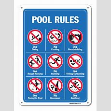 Pool Signs Swimming Rules Graphics Large 10 X 14 Aluminum