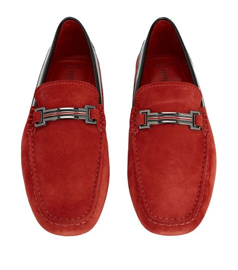 Tods x ferrari driving shoes. Tod's Ferrari Horsebit Suede Driving Shoe in Red for Men | Lyst