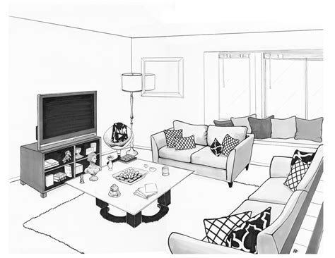 living room drawing living room lounge pencil and in color