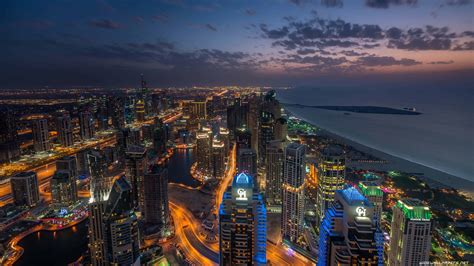 Dubai Marina At Night, United Arab Emirates Uhd 4k