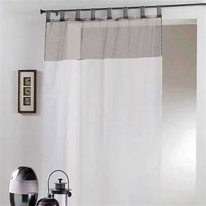 Voilage Blanc Et Gris : voilage passants bicolore blanc et gris eminza ~ Teatrodelosmanantiales.com Idées de Décoration