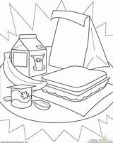 Healthy Lunch Coloring Pages Worksheet Lunches Worksheets Kindergarten Education Sandwich Sheet Packed Learning Stuff Printable Cafeteria Eat Activity sketch template