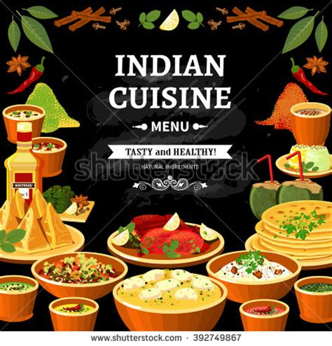 poster cuisine indian cuisine restaurant menu black board stock vector