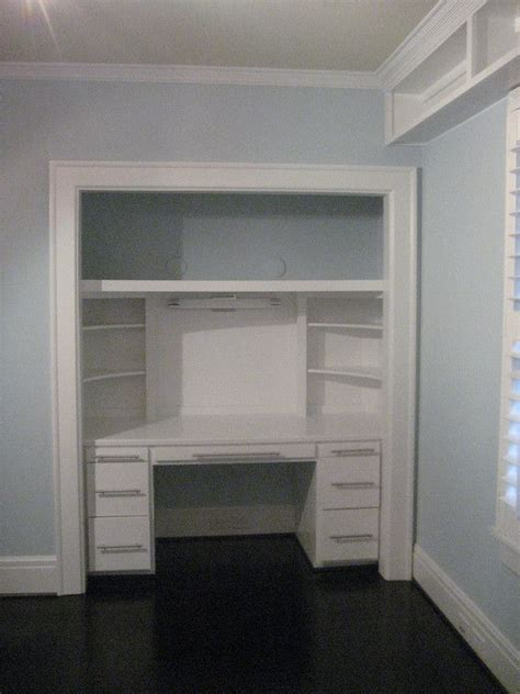 desk in a closet bedroom closet turned into desk carolina building services inc dream house pinterest