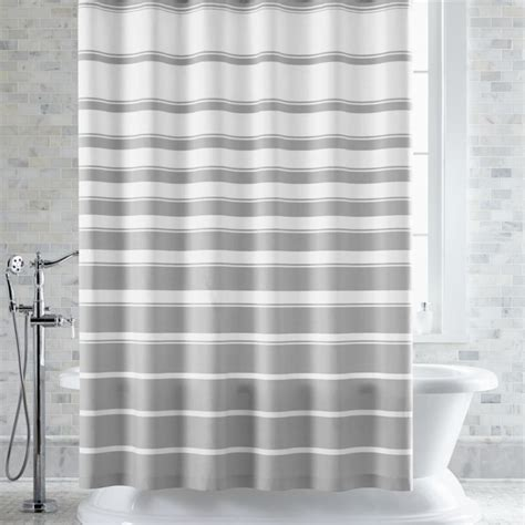 Hampton Grey White Striped Shower Curtain   Crate and Barrel