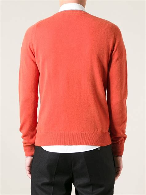 moncler sweater moncler crew neck sweater in orange for lyst