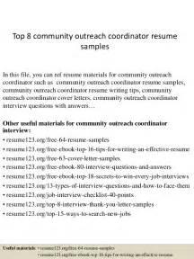 community outreach sle cv top 8 community outreach coordinator resume sles
