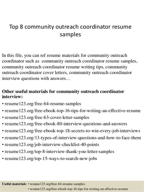 Community Outreach Resume by Top 8 Community Outreach Coordinator Resume Sles