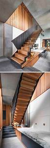 The Upper Floor : this modern house has wood and steel stairs that lead to ~ Farleysfitness.com Idées de Décoration