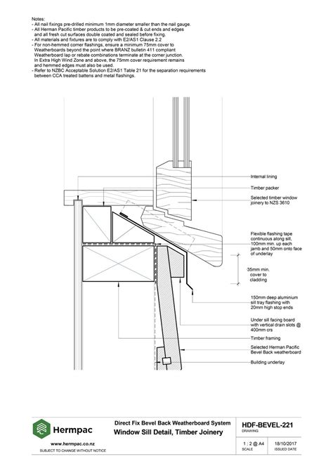 Timber Window Sill Profiles by Hermpac Limited Construction Drawings