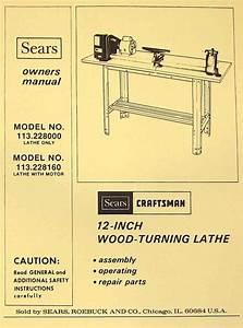 Craftsman 113 228000  U0026 113 228160 Wood Lathe Owner U0026 39 S Parts