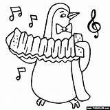 Penguin Accordion Coloring sketch template