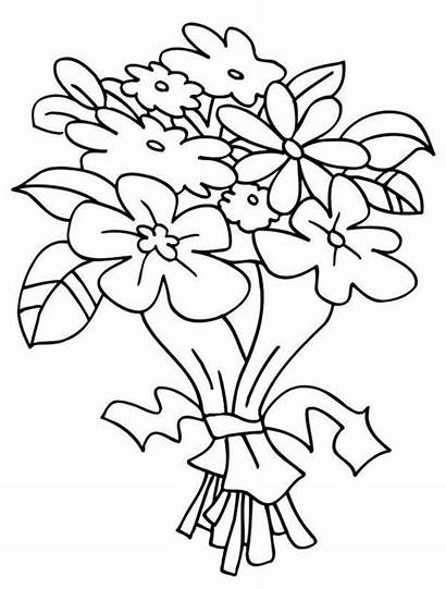 Bouquet Flowers Coloring Flower Flores Clipart Colorir