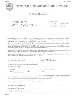 tennessee exemption certificate fill printable fillable blank pdffiller