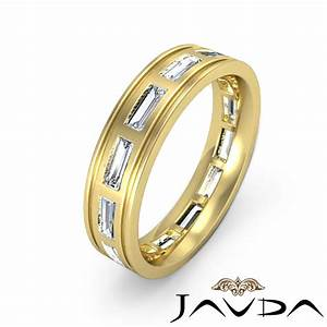 Baguette bezel diamond mens 6mm ring eternity wedding band for Mens wedding rings baguette diamonds
