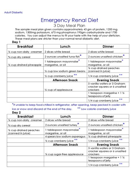 renal diet chart   templates   word excel