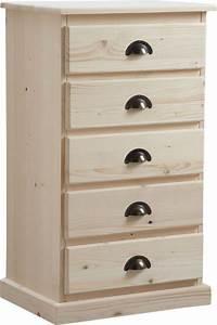 Chiffonnier 5 Tiroirs : chiffonnier en bois brut 5 tiroirs ~ Teatrodelosmanantiales.com Idées de Décoration