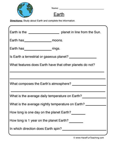 Earth  Planet Worksheet 3