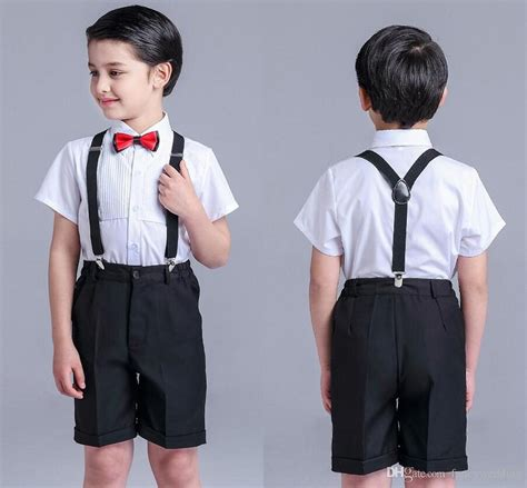 Shirt Suspenders Wedding Suits Bow Tie Todder Boys Gentleman Prettyboy Plaid Boys Clothing Set ...