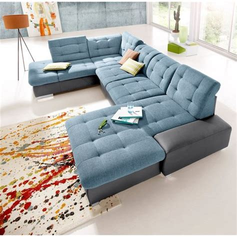 canap 233 panoramique m 233 ridienne fixe droite gauche tissu aspect tweed rev 234 tement synth 233 tique