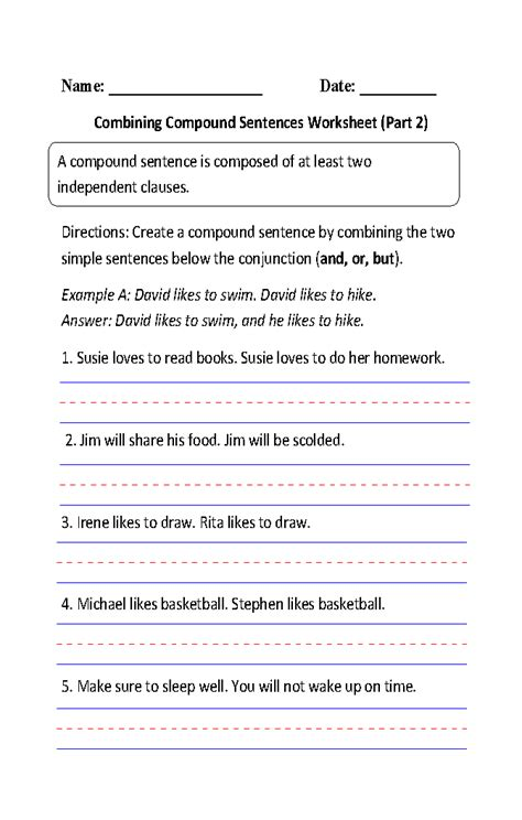 sentences worksheets compound sentences worksheets