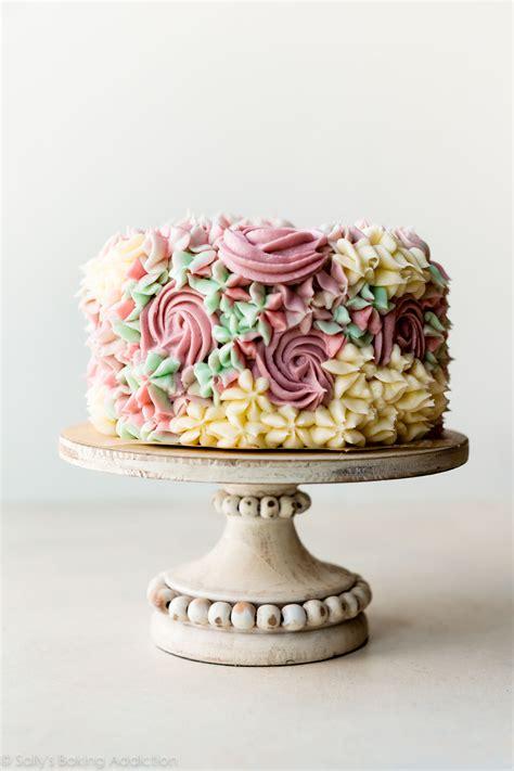 birthday cake  easy buttercream flowers sally