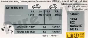 Citroen C3 20545r17 Tyre Pressure Placard Pure Tyre