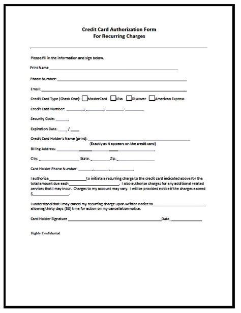 credit card authorization form template besttemplates123 best templates best templates