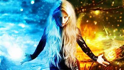 Fantasy Digital Fire Blonde Hair Ice Character