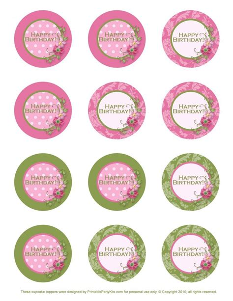 freebie birthday cupcake toppers printable party kits