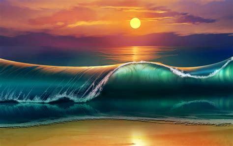Moon And Clouds Wallpaper Wallpaper Beach Sunset Waves Sea Ocean 4k Creative Graphics 9000