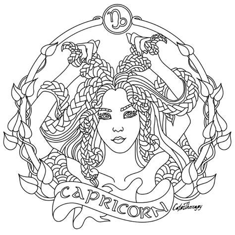 capricorn zodiac beauty colouring page coloring page