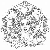 Coloring Pages Zodiac Adult Signs Colouring Capricorn Printable Pisces Adults Taurus Mandala Sheets Therapy Fairy Astrology Beauty Virgo Colors Shadows sketch template