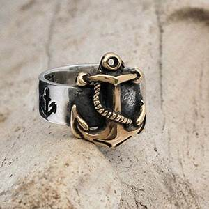 nautical anchor ring in 14k gold and sterling silver With mens nautical wedding rings
