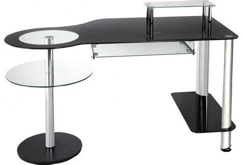 bureau verre pas cher bureau informatique verre noir et acier chromé bureau