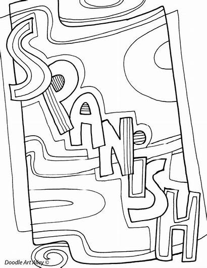 Coloring Pages Binder Spanish Subject Covers Doodles