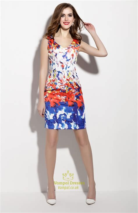 multi colored dress multi colored sleeveless v neck sheath cocktail dress