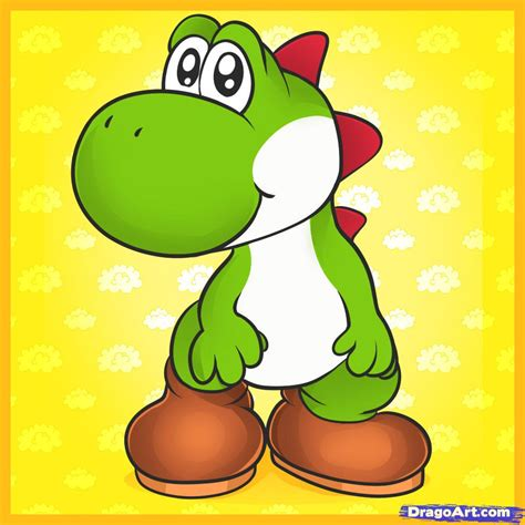 draw yoshi step  step video game characters
