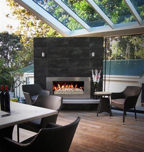 gas fireplace outdoor contemporary photography kitchen