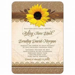 wedding invitation rustic sunflower burlap lace wood With wedding invitation templates with sunflowers