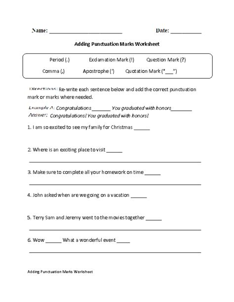 adding punctuation marks worksheet englishlinxcom board