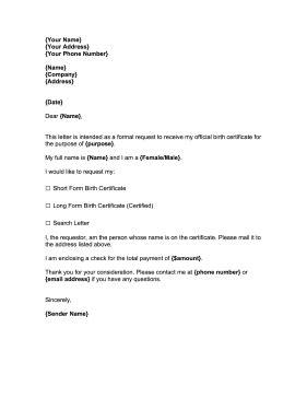 request  birth certificate template
