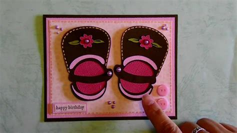 cricut baby   girl shoe happy birthday card kates