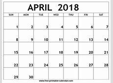 April 2018 Calendar yearly printable calendar